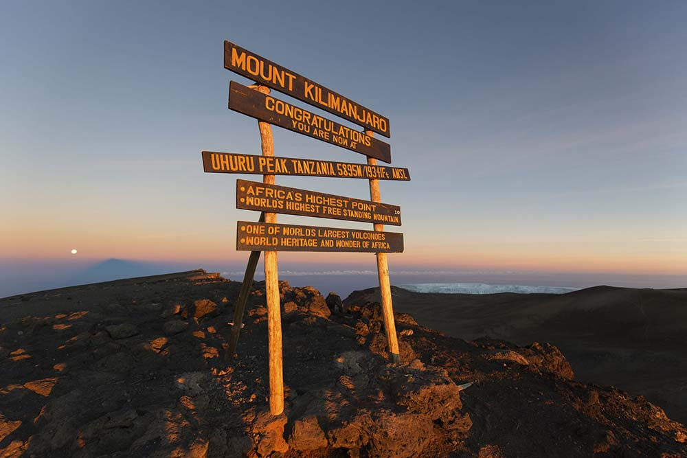 51358023 - uhuru peak highest summit on mount kilimanjaro in tanzania, africa.